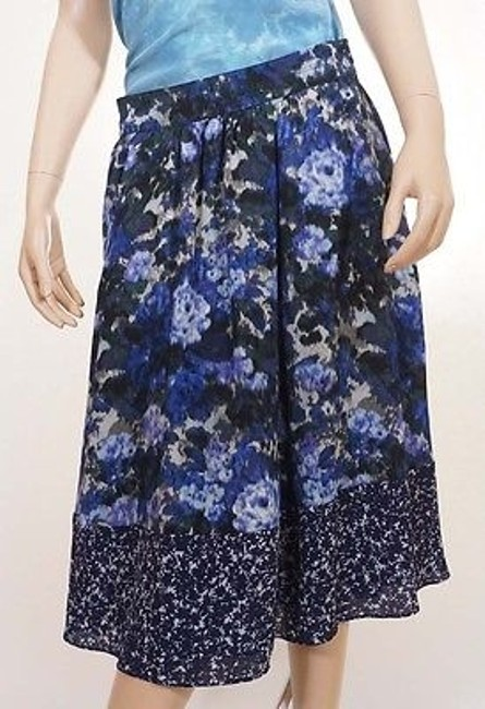 Adrianna Papell 11cs34970 Womens Blue Navy Lined Floral Pleat A Line Skirt Multi-Color