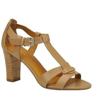 Franco Sarto Giada Womens Clay Leather High Heels Tan Sandals