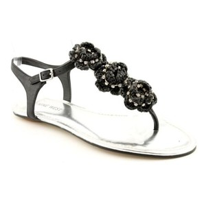 Nine West Wowza Womens Leather Black Sandals