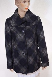 Ellen Tracy Womens Navy Grey Plaid Wool Lined Tweed Coat Multi-Color Jacket