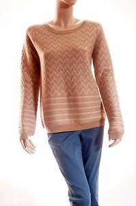 Joie Hideaki Womens Tan Metallic Wool Chevron Sweater