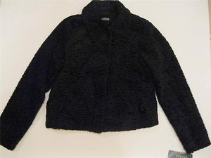 Ralph Lauren By Womens Lined Faux Fur Persian Lamb Coat Black Jacket