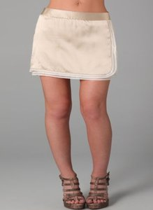 Alice + Olivia Womens Silk Nude Patsy Smocked Tiered Mini Skirt Beige