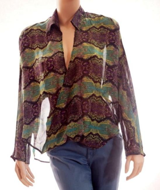 Other Womens Black Silk Snake Print Cowl Neck Long Sleeve Top Green