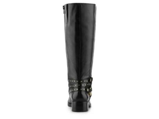 Nine West Weymouth Womens Leather Fashion Knee High Riding Black Boots