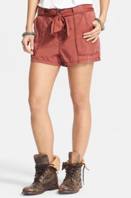 Free People Womens Mars Tangerine Drippy Tie Waist Tencil Cargo Shorts Red