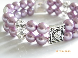Other Purple Pearl Rhinestone Bracelet Bridal Pearl Bracelet Bridesmaid Jewelry Weddings Jewelry Pearl Bracelet