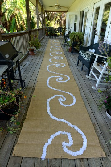 Burlap and Ivory Rose Petals Wave Aisle Runner