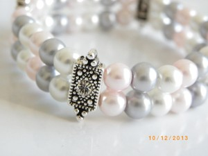 White Pearl Pearl Cuff Grey Pink Bridesmaid Bracelet