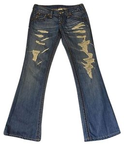 True Religion 100 Distressed 27 Flare Leg Jeans