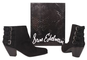 Sam Edelman Western Ankle Suede Suede Buckles Country Gowboy Cowgirl Festival Black Boots