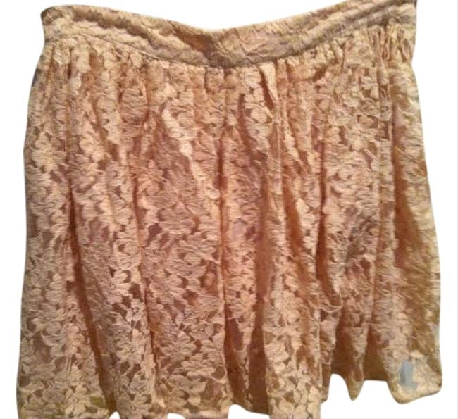 Forever 21 Lace Flowy Mini Knit Mini Skirt Peach