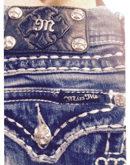 """Item - Blue W Silver & Crystals """"Decorative"""" Straight Leg Jeans Size 28 (4, S)"""