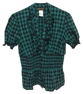 Fabulosity Checkered Buttons Xl 97% Cotton Button Down Shirt Teal/black