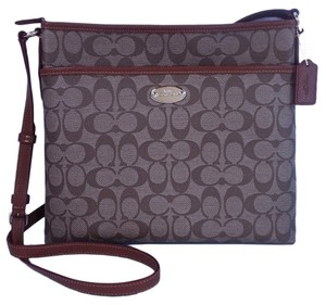 Coach Sinature File Khaki Saddle Messenger Bag