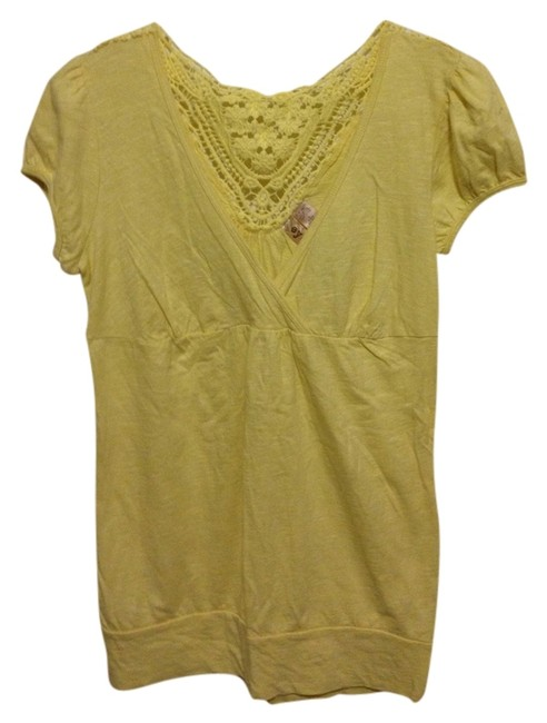 Eyeshadow Spring Cutout 100% Cotton T Shirt Yellow