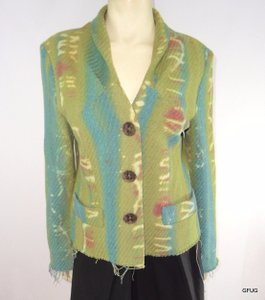 Dolce Emozione Italy Green Blue Wool Blend Art-to-wear Blazer Jacket