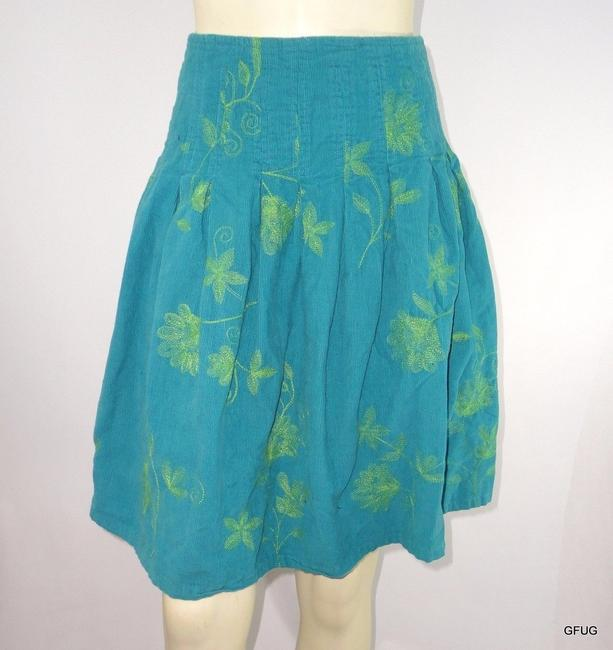 Miss Me Sweet By Corduroy Floral Embroidered Pleated Skirt Blue