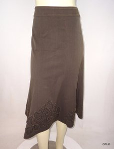 CAbi Distressed Floral Applique Style 402 Skirt Brown