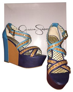 Jessica Simpson Blue Strappy Heel Wedge Blue/Tan Wedges