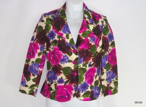 Tibi Tibi Vibrant Floral Pure Silk Button-up Blazer Jacket