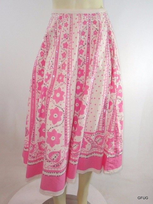 Body Central White Floral Print Retro Circle Silver Sequined Skirt Pink