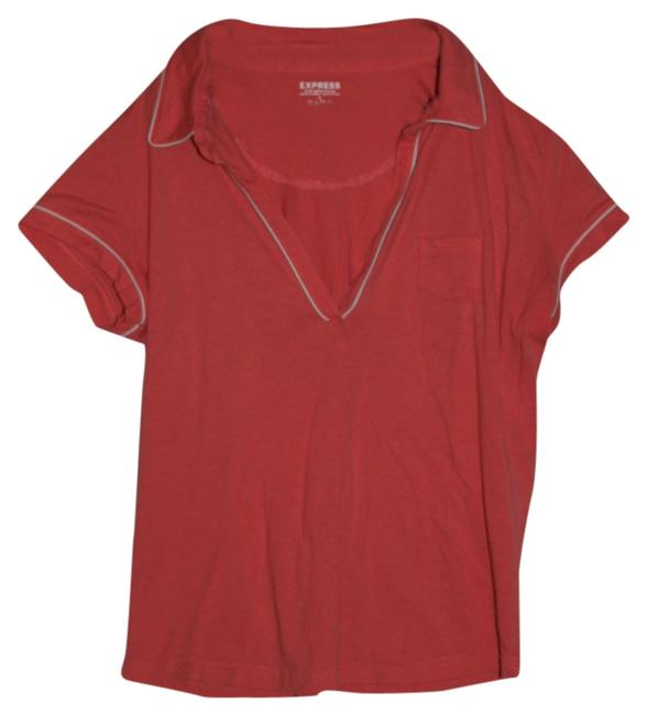 Preload https://img-static.tradesy.com/item/5503888/express-coral-and-white-piping-tee-shirt-size-12-l-0-0-650-650.jpg