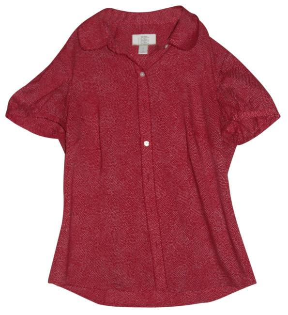 Ann Taylor LOFT Top Brick Red and White
