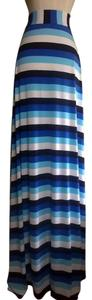 Lisa Nieves Striped Blue Face Spring Stretchy Maxi Skirt Whiteblue