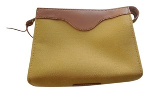 Dooney & Bourke Canvas Leather Trim Zipper Close Yellow Clutch