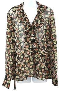 Ralph Lauren Print Sheer Wrap Top