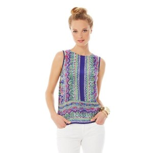 Lilly Pulitzer Top Bright Navy Not Too Catty