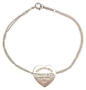 Tiffany & Co. Tiffany & Co. Sterling Silver Heart Pendant Link Bracelet (52262)
