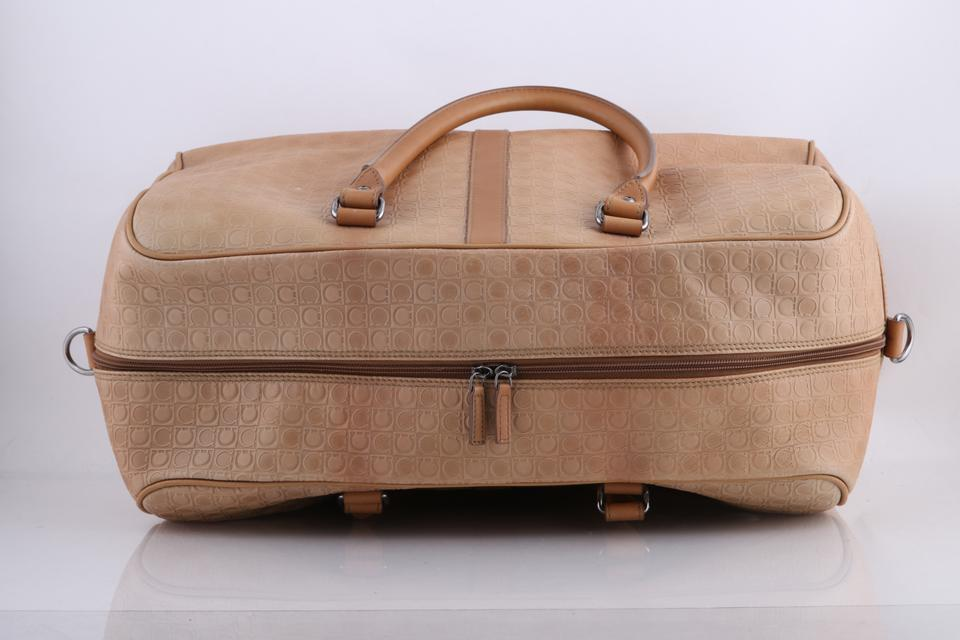 59e373a6a5 Salvatore Ferragamo Brown Tan Embossed Duffle Brown Leather Weekend ...