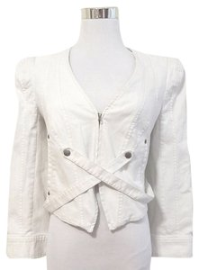 Of Two Minds Fitted Crop Denim Canvas White Womens Jean Jacket