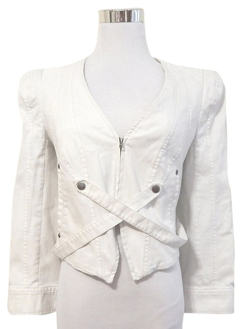 Of Two Minds Fitted Crop Canvas White Womens Jean Jacket