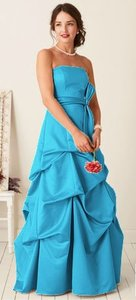 David's Bridal Other Satin Strapless Ballgown with Pick-up and Sash - S Formal Bridesmaid/Mob Dress Size 14 (L)