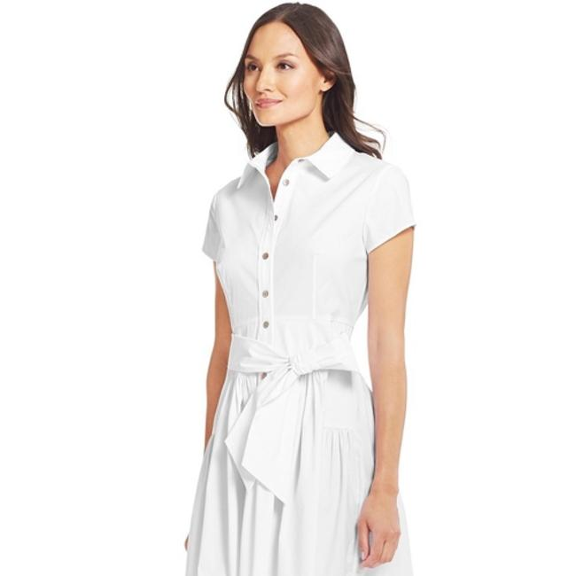 DVF Scarlet Pleated Cotton Shirt Dress short dress White on Tradesy