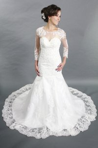 Sweetheart 3/4 Sleeves White Lace Court Train Mermaid See Through Back Wedding Dress