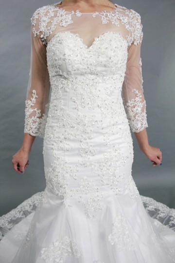 White Lace Sweetheart 3/ Sleeves Court Train Mermaid See Through Back Wedding Dress Size 4 (S)