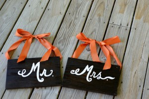 Mr & Mrs Back Of Chair Signs