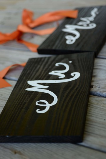 Walnut Mr & Mrs Back Of Chair Signs Reception Decoration