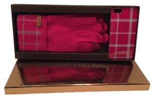 Coach Coach F62998 Boxed Apple iPHONE 5 Case with Touch Gloves Pink Scarlet