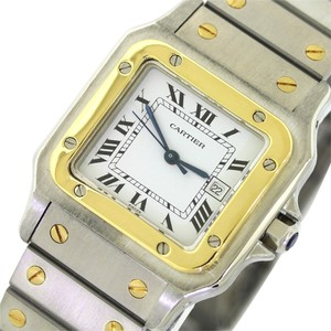 Cartier Authentic Cartier Santos Midsize 29mm Solid 18k Yellow Gold & Stainless Two Tone White Automatic Watch