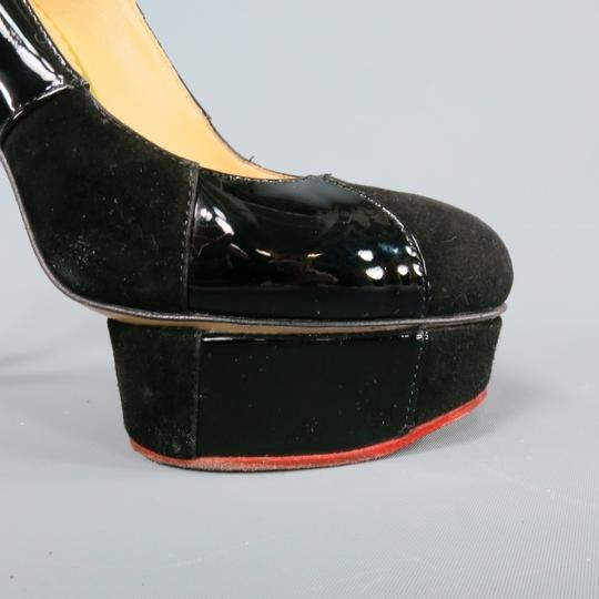 Charlotte Olympia Suede Patent Leather Striped Black Pumps