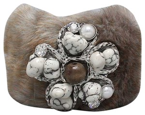 Other Faux Fur Multicolor Gray Broach Crystal Accent Winter Wrist Warmer Cuff Bracelet