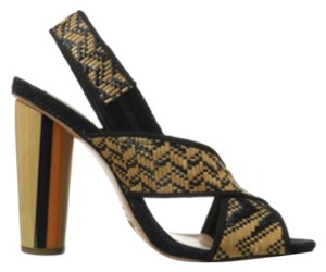 SCHUTZ BLACK TAN AND GOLD Pumps