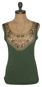 Anthropologie Embellished Top GREEN
