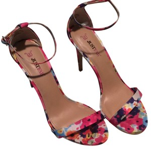 JustFab Floral, pink, bright, multicolor Sandals