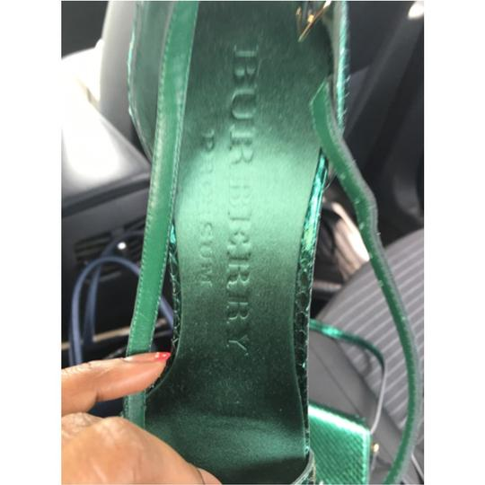 Burberry Snakeskin Metallic Brit Green Pumps